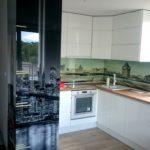 kuchnia lakierowana lodówka do zabudowy grafika