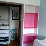 biały mat różowe półki meble pokojowe dla dziecka
